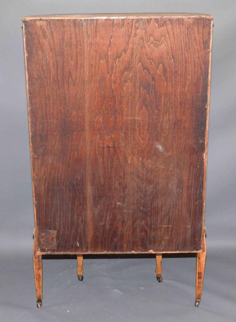 ANTIQUE CURVED GLASS OAK CABINET. 59''H x 34''W x - 6