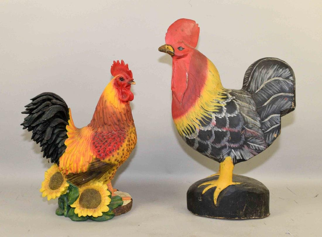 FOLK ART CARVED ROOSTER AND HEN PAINTED IN VIBRANT