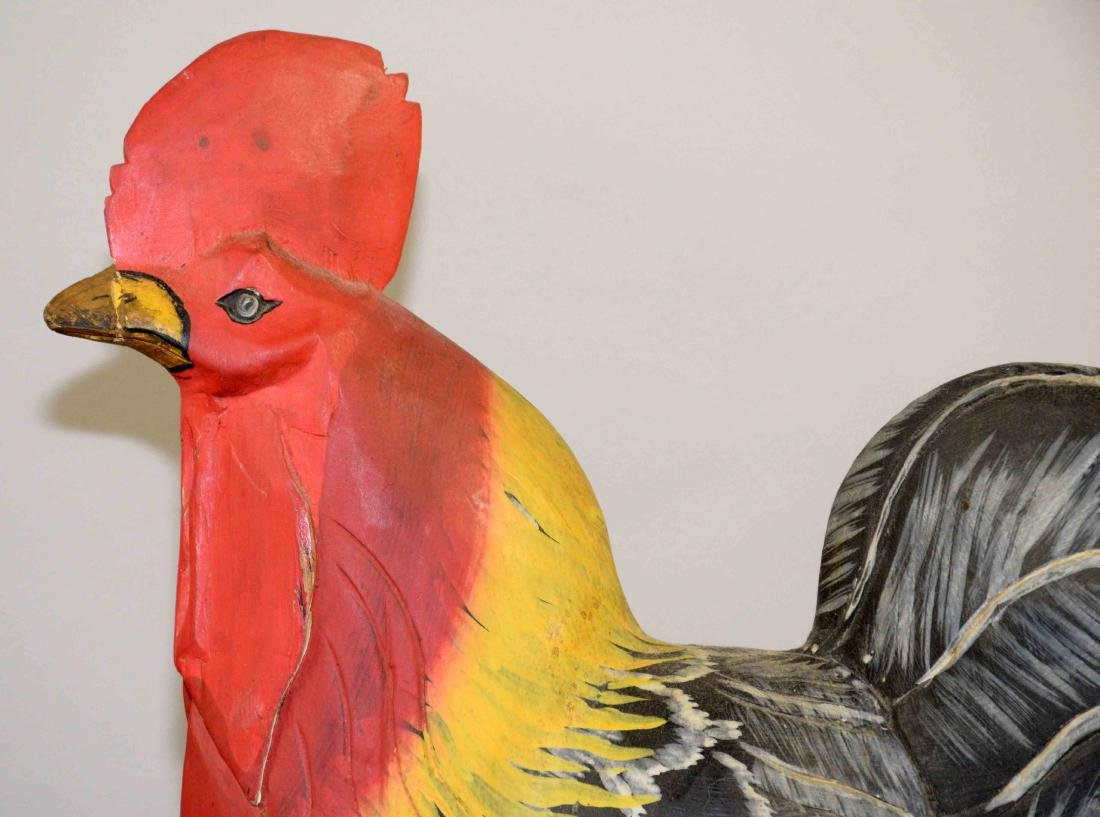 FOLK ART CARVED ROOSTER AND HEN PAINTED IN VIBRANT - 3