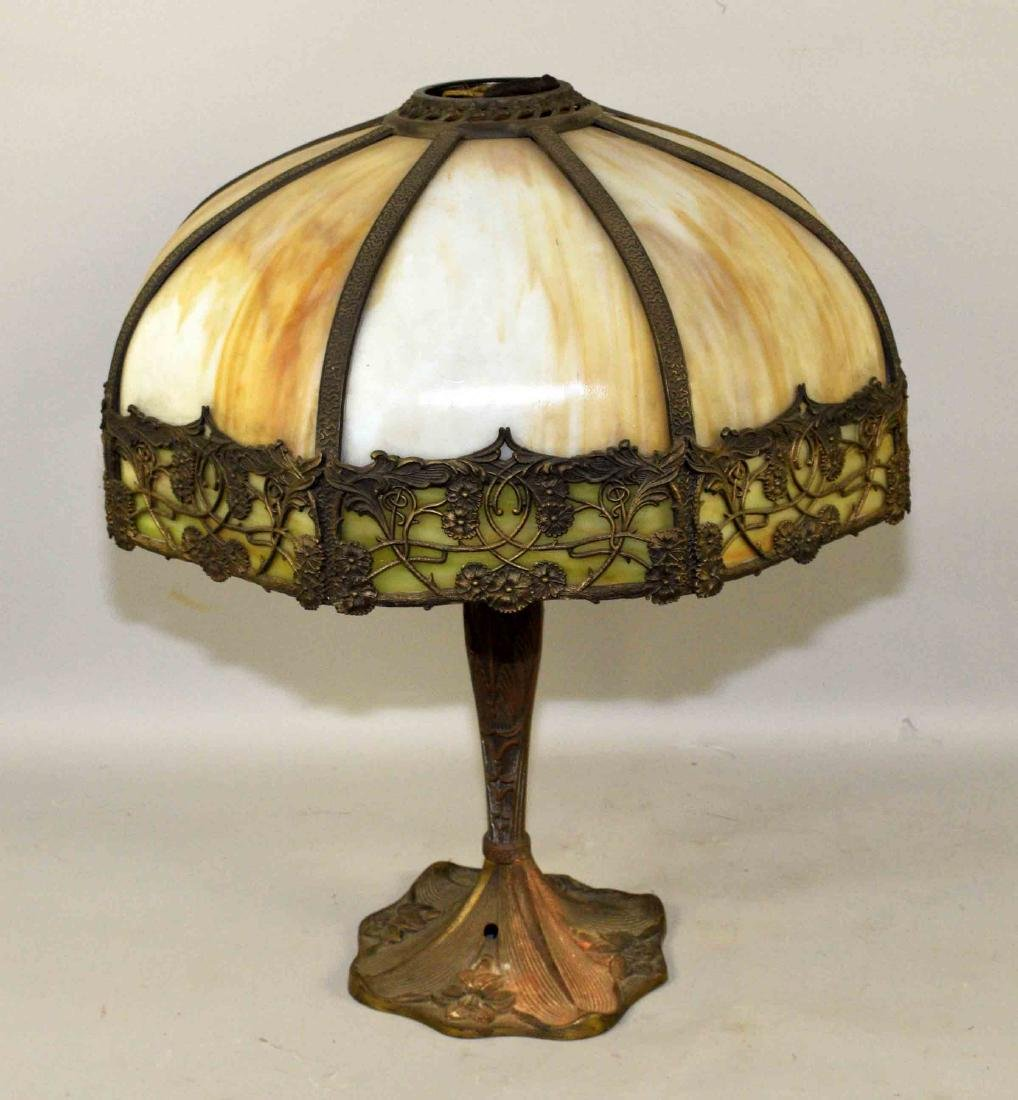 SLAG GLASS LAMP. Missing cord and finial. 21.5''H.