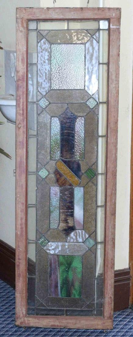 STAINED GLASS WINDOW. Some bowing. 64''H x 20''W.
