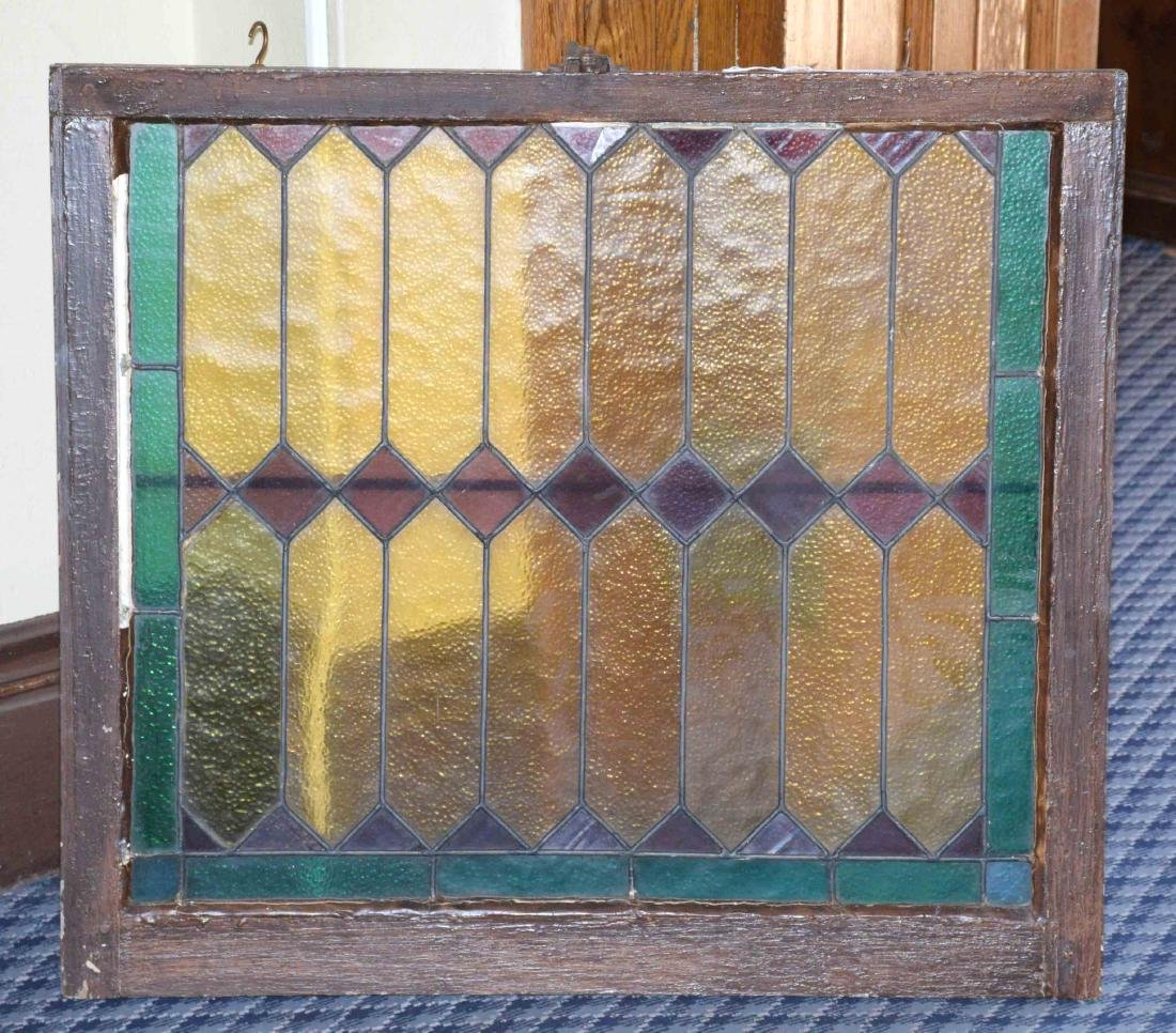 STAINED GLASS WINDOW. 30''H x 34''L.