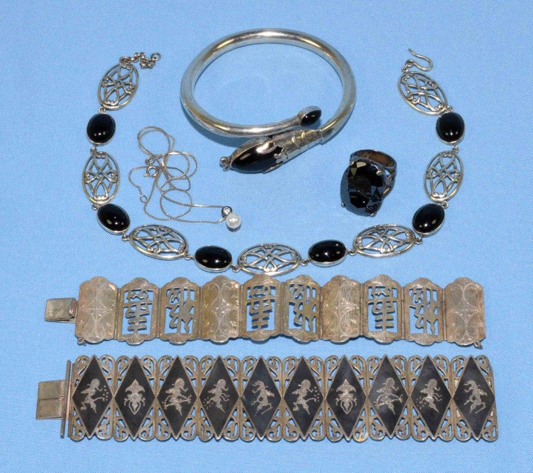 (6) PC. MISC. STERLING W/ONYX, MEXICAN AND ORIENTAL