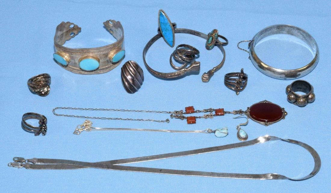 ASST. STERLING RINGS, BRACELETS AND NECKLACES. All
