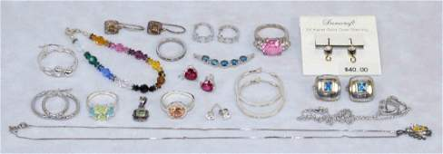 OVER (15) PCS. LADIES STERLING AND SEMI-PRECIOUS STONE