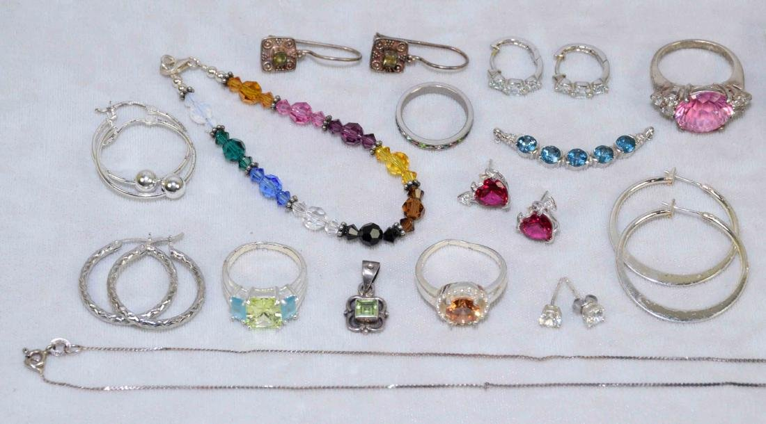OVER (15) PCS. LADIES STERLING AND SEMI-PRECIOUS STONE - 2