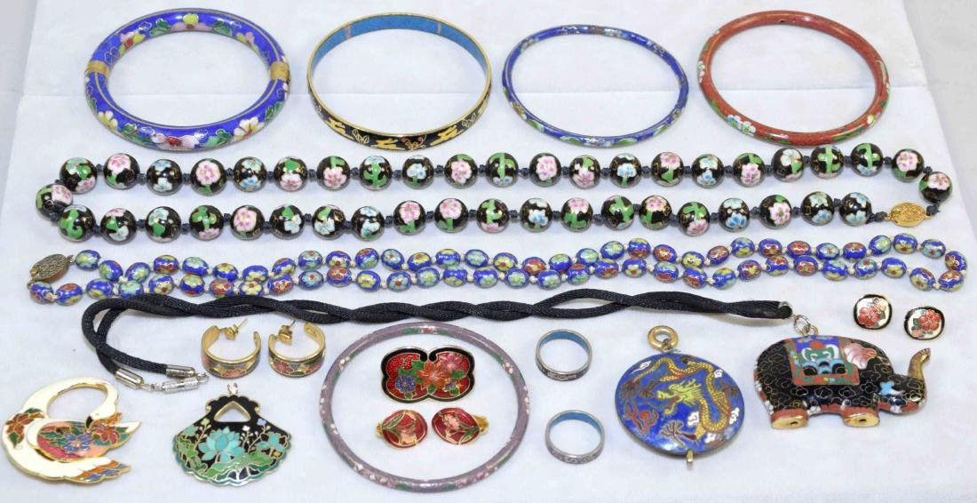 OVER (15) PCS. OF CLOISONNE JEWELRY. Includes: (2)