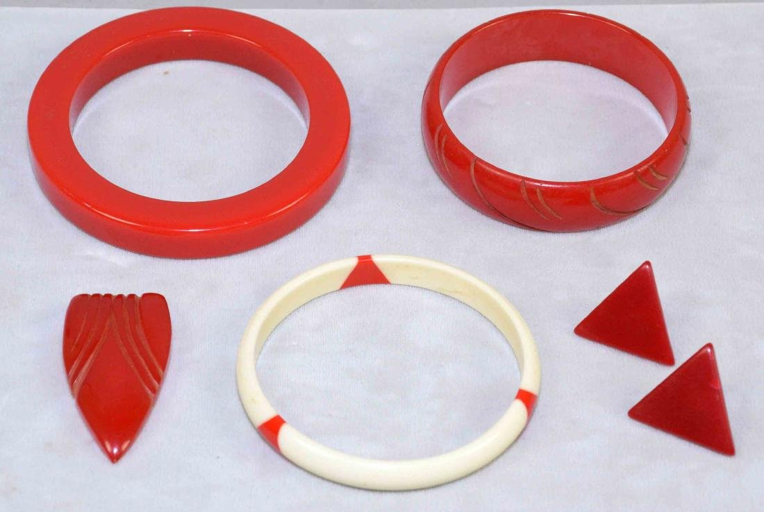 (5) PC. ASST. RED AND IVORY BAKELITE JEWELRY. Includes:;