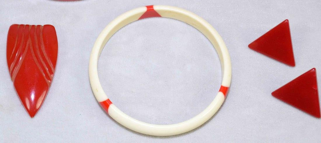 (5) PC. ASST. RED AND IVORY BAKELITE JEWELRY. Includes:; - 2