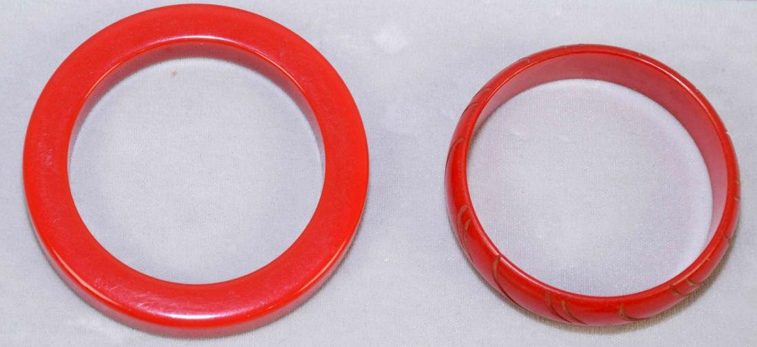 (5) PC. ASST. RED AND IVORY BAKELITE JEWELRY. Includes:; - 3