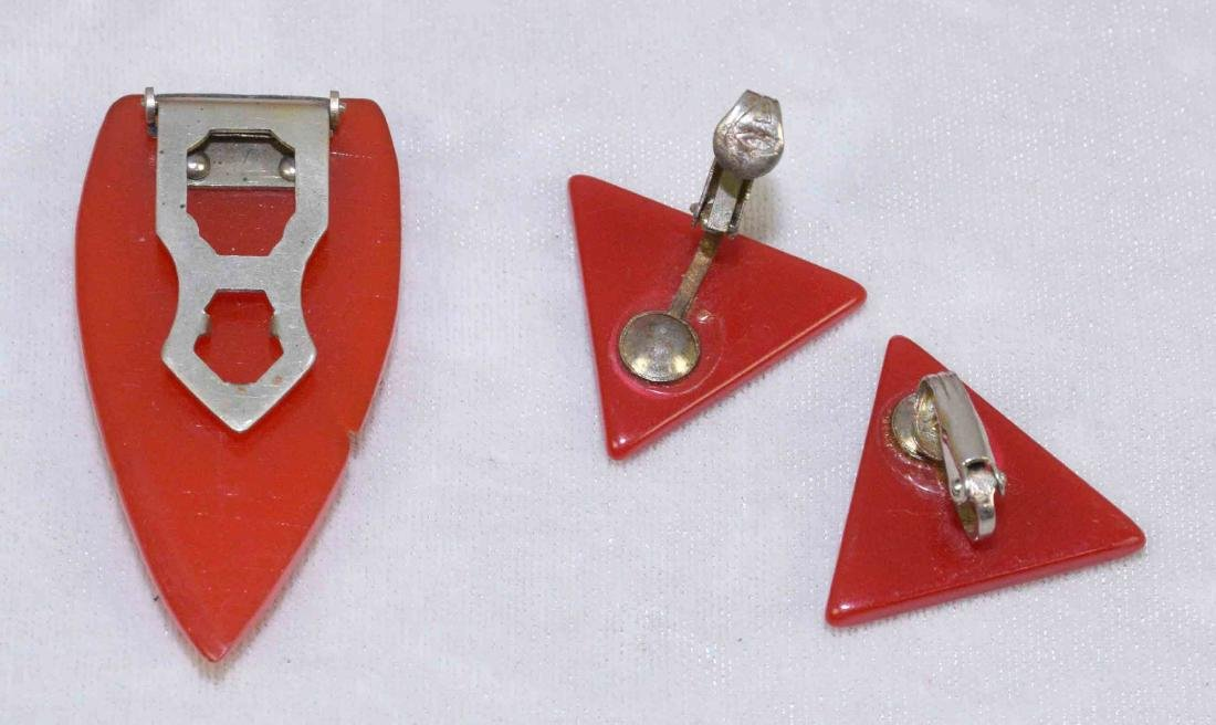 (5) PC. ASST. RED AND IVORY BAKELITE JEWELRY. Includes:; - 4