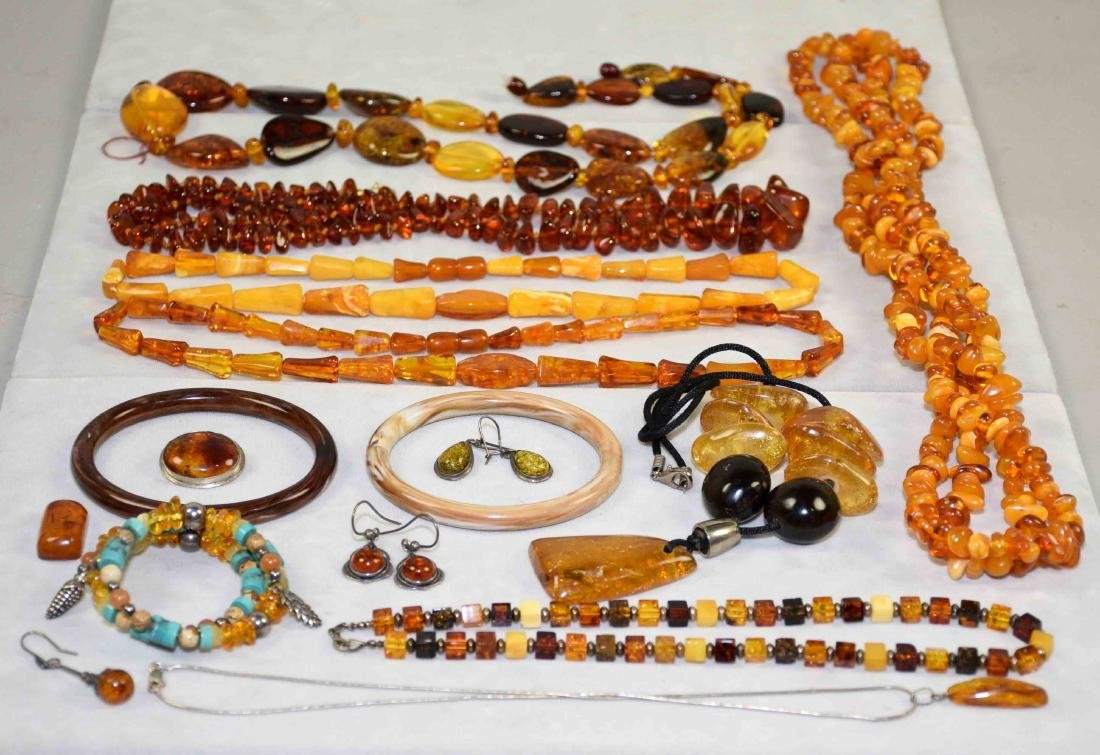 OVER (10) PCS. OF AMBER COSTUME JEWELRY. Includes: