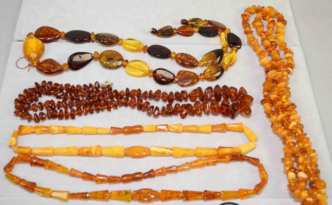 OVER (10) PCS. OF AMBER COSTUME JEWELRY. Includes: - 4