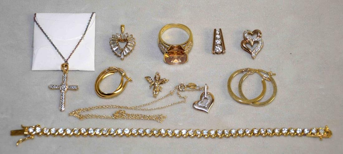 (10) PC. ASST. STERLING VERMEIL AND DIAMOND JEWELRY
