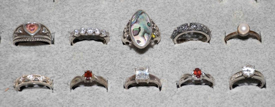 (10) ASST. LADIES STERLING AND SEMI-PRECIOUS STONE