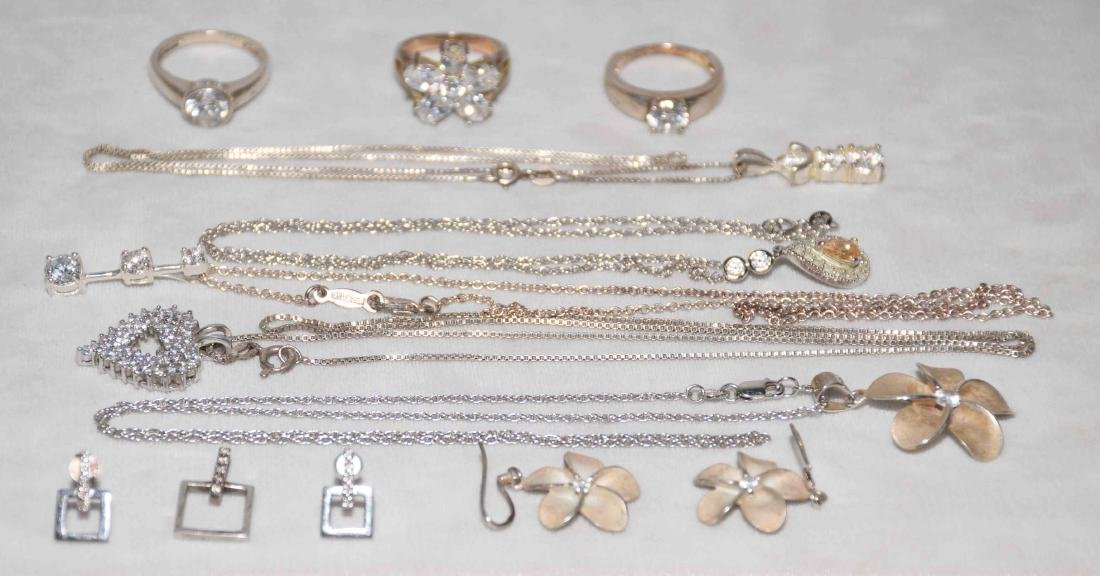 (11) PCS. ASST. LADIES STERLING AND CUBIC ZIRCONIA