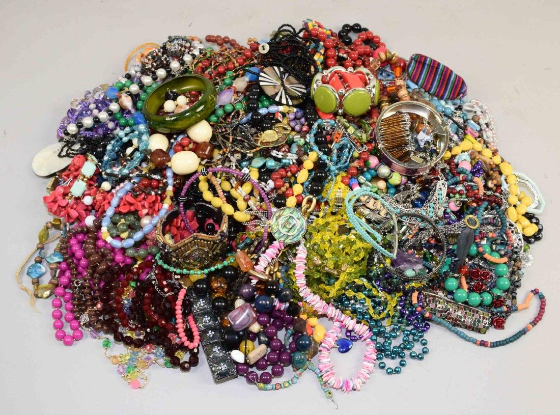 BIN/ASSORTED MULTI-COLOR COSTUME JEWELRY. (Necklaces, - 2
