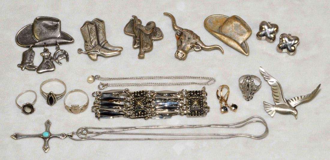 (15) PCS. STERLING JEWELRY w/5 silvered cowboy