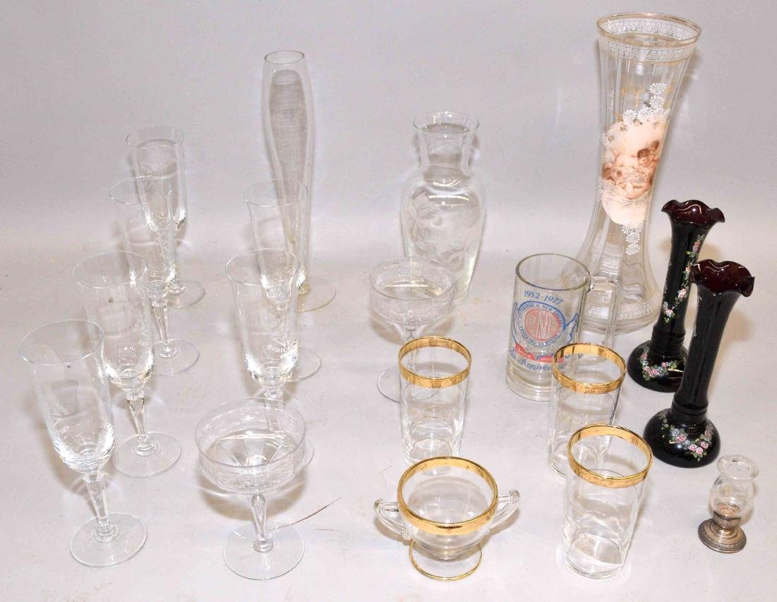 COLLECTION OF ASSORTED GLASS. Includes champagne