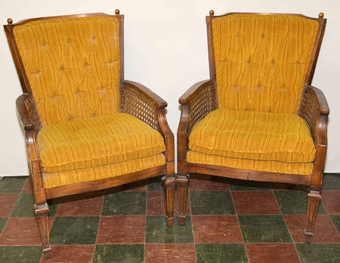 PAIR OF UPHOLSTERED CHAIRS. 36''H x 25.50''W x 19''D.