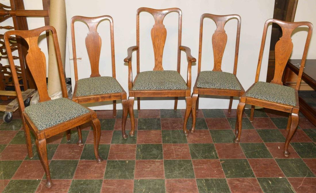 (5) WOODEN CHAIRS. 43''H x 23.50''W x 18''D.