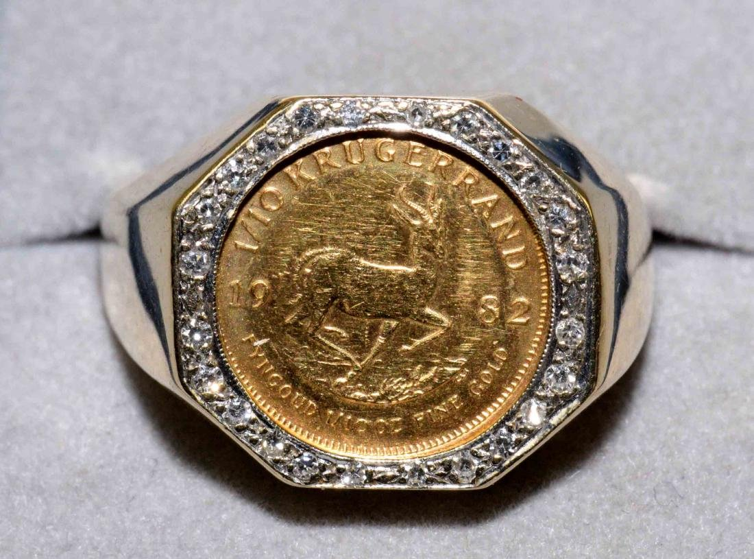 MENS 14K GOLD AND DIAMOND RING with 1982 one-tenth