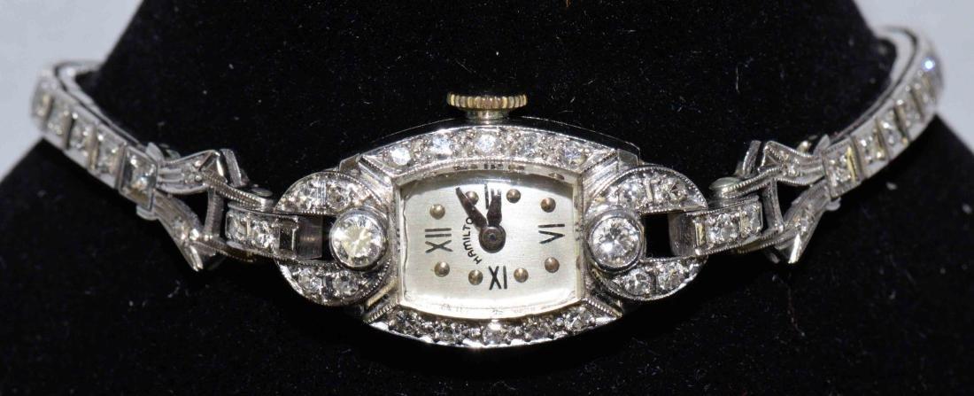 HAMILTON VINTAGE LADIES WRIST WATCH: Platinum, gold and