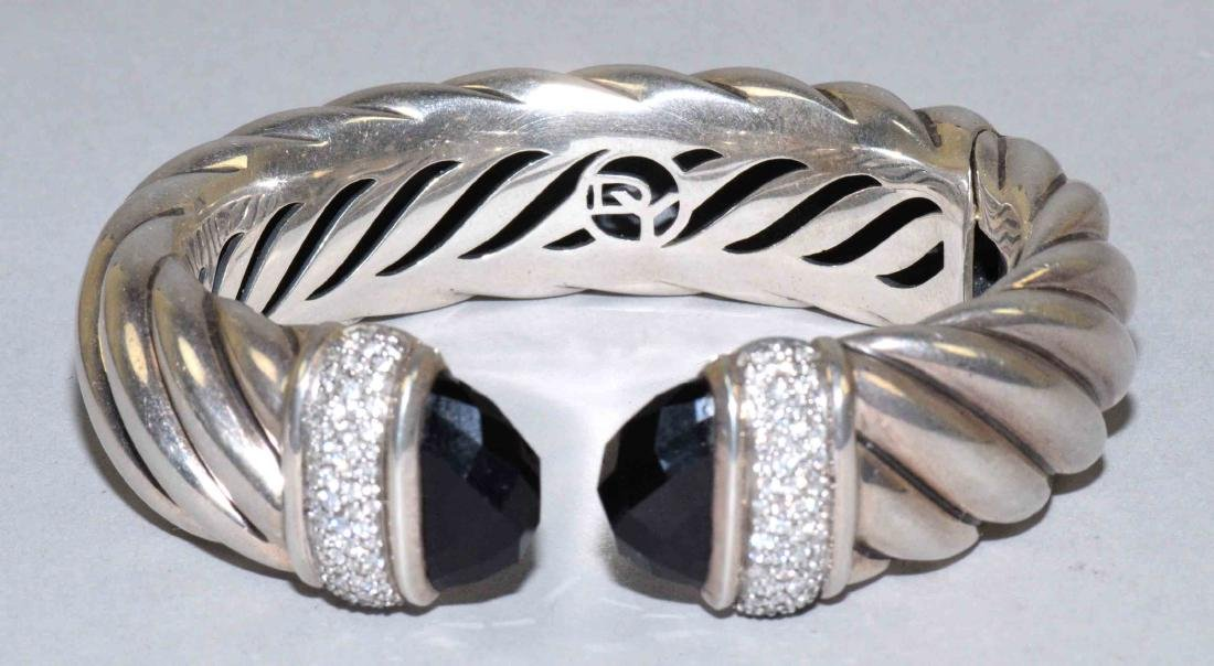 DAVID YURMAN DIAMOND AND BLACK ONYX WAVERLY CUFF