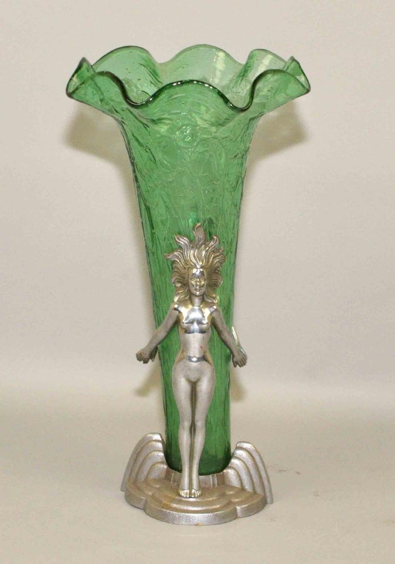 ART NOVEAU VASE, metal and green crackle glass, 7''