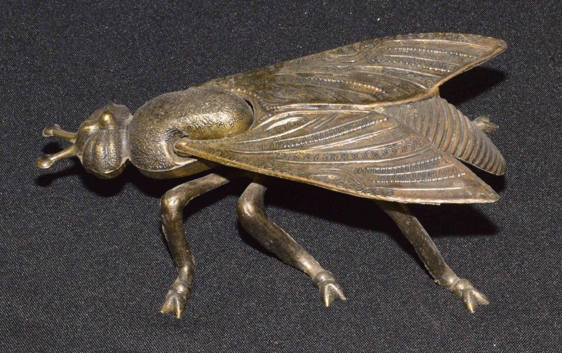 ANTIQUE METAL BOX IN SHAPE OF A FLY. 8''L x 4''W x