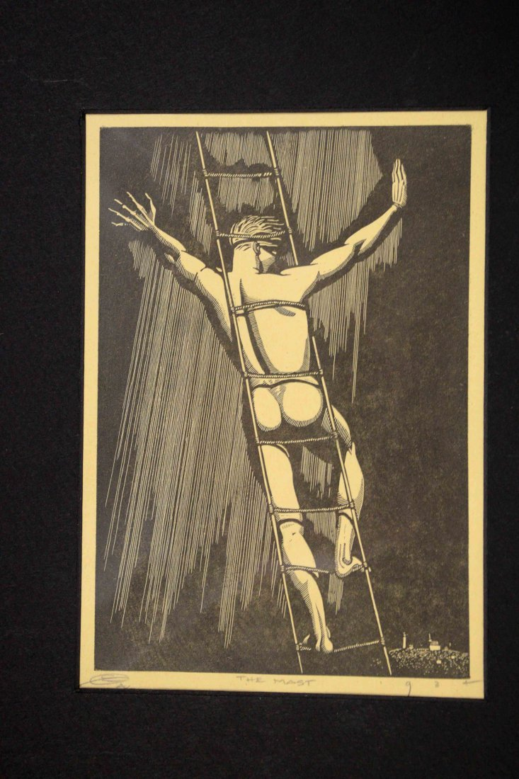 PRINT TITLED, ''The Mast'', indistinctly monogrammed