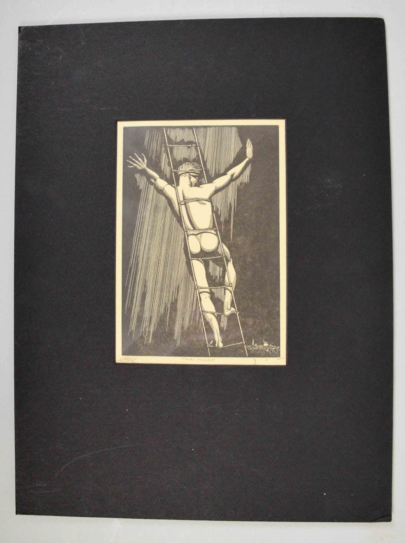 PRINT TITLED, ''The Mast'', indistinctly monogrammed - 2