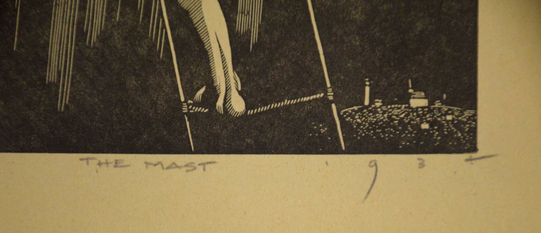 PRINT TITLED, ''The Mast'', indistinctly monogrammed - 4