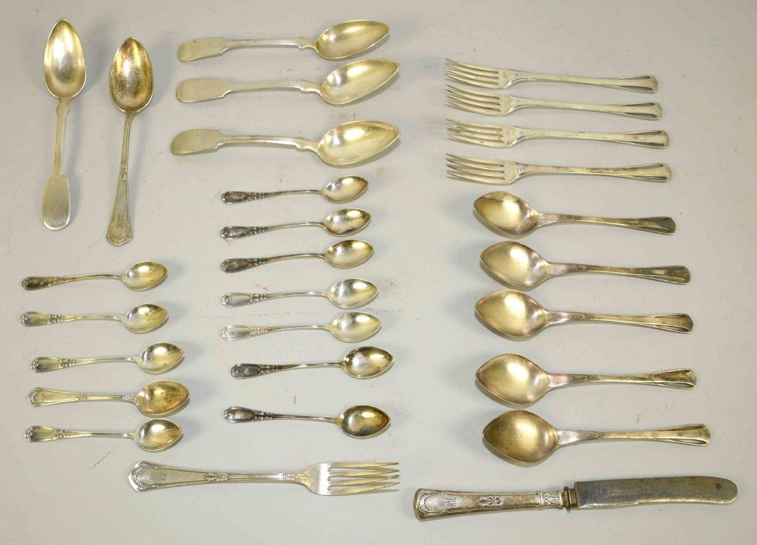 ASSORTED 800 SILVER FLATWARE and (9) pieces of