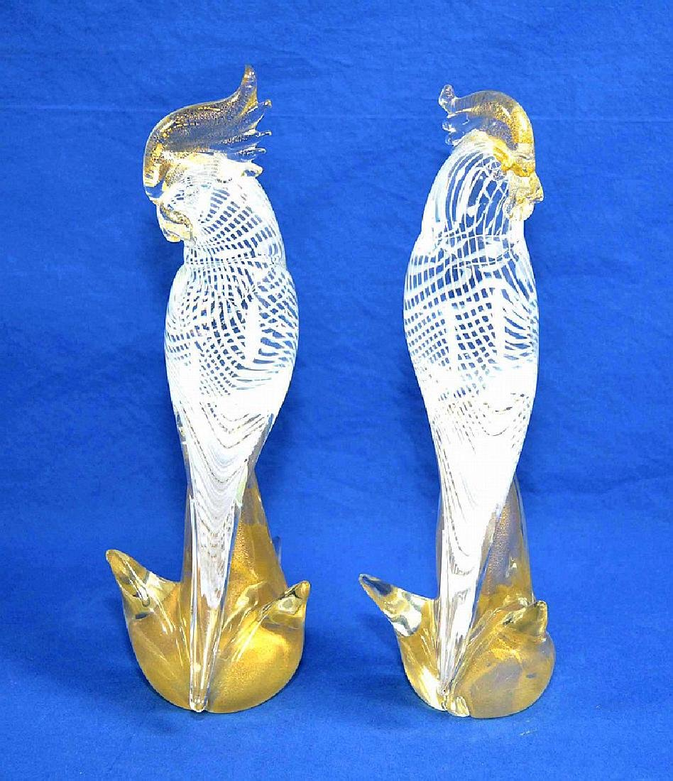 PAIR MURANO GLASS COCKATIELS - base, beak and crest are