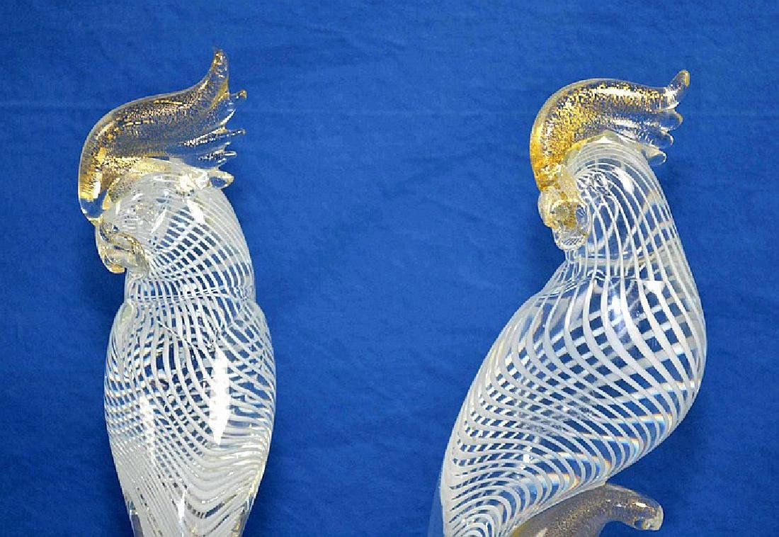 PAIR MURANO GLASS COCKATIELS - base, beak and crest are - 2