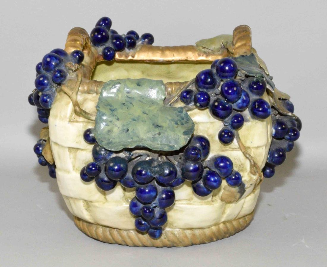 AMPHORA VASE, basket with grapes and vines, small chip