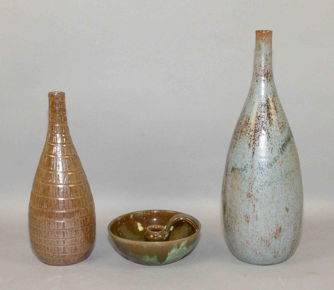 (3) A.R. COLE ART POTTERY PIECES. (2) VASES AND (1)