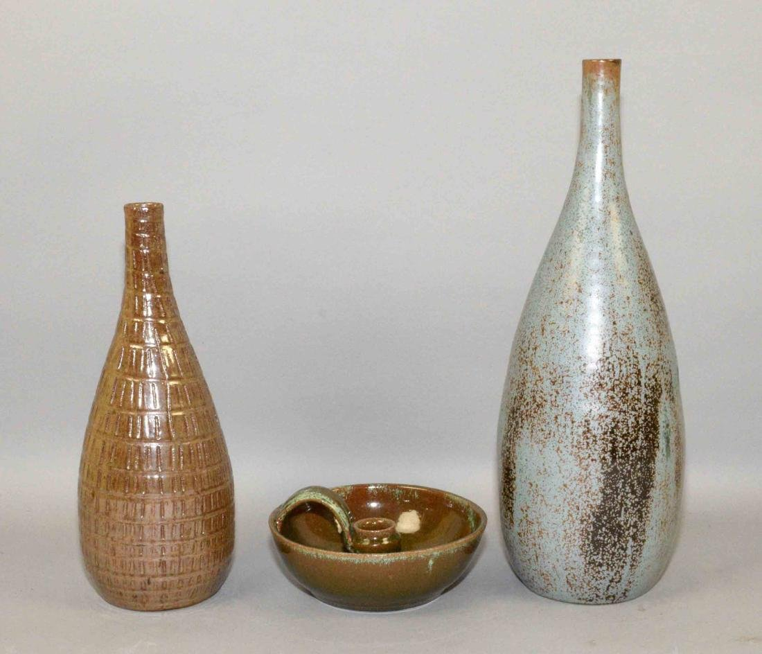 (3) A.R. COLE ART POTTERY PIECES. (2) VASES AND (1) - 2