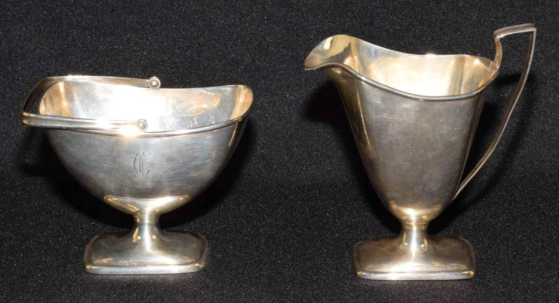 STERLING SUGAR AND CREAMER SET. Mark/sterling C. 1675.