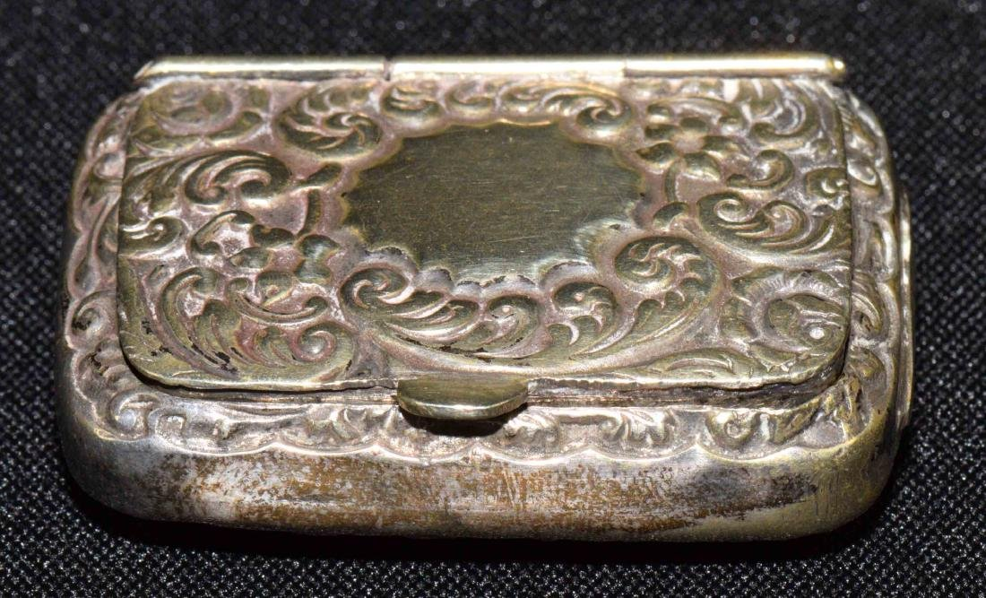ANTIQUE REPOUSSE STERLING MATCH BOX w/gold wash