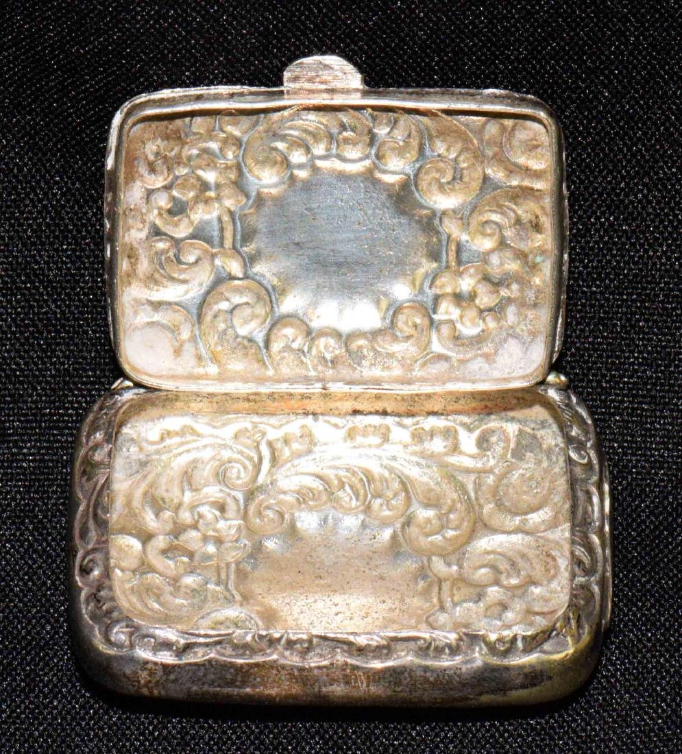 ANTIQUE REPOUSSE STERLING MATCH BOX w/gold wash - 2