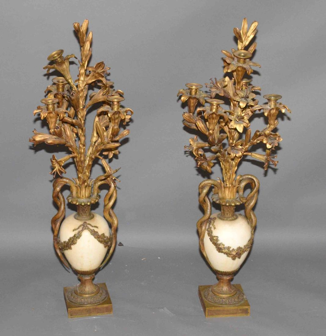 PAIR OF ANTIQUE GOLD GILT AND MARBLE CANDELABRA of