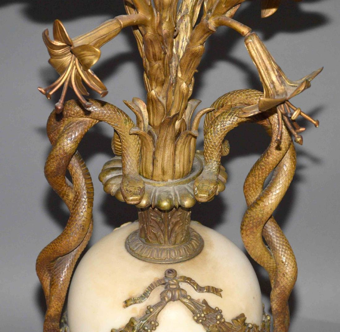 PAIR OF ANTIQUE GOLD GILT AND MARBLE CANDELABRA of - 3