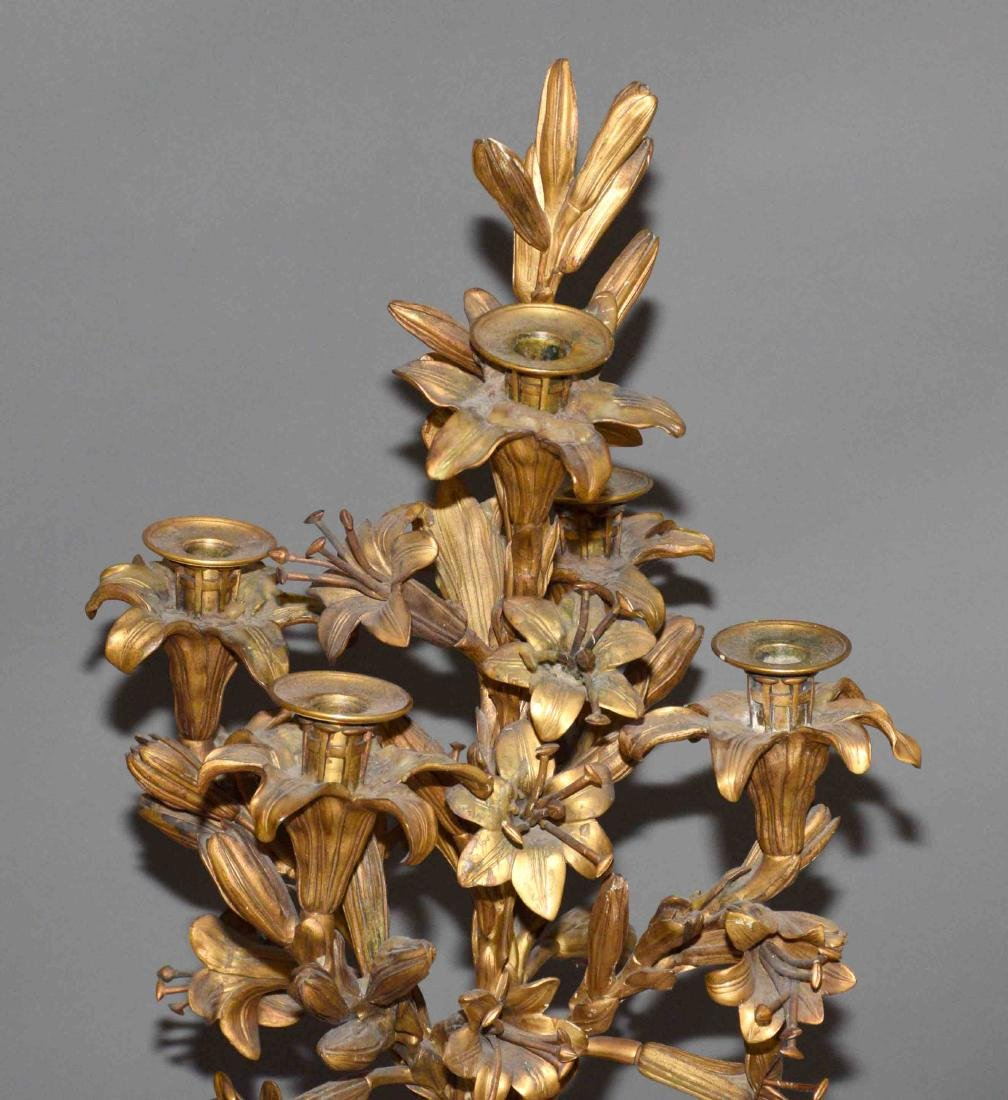 PAIR OF ANTIQUE GOLD GILT AND MARBLE CANDELABRA of - 7