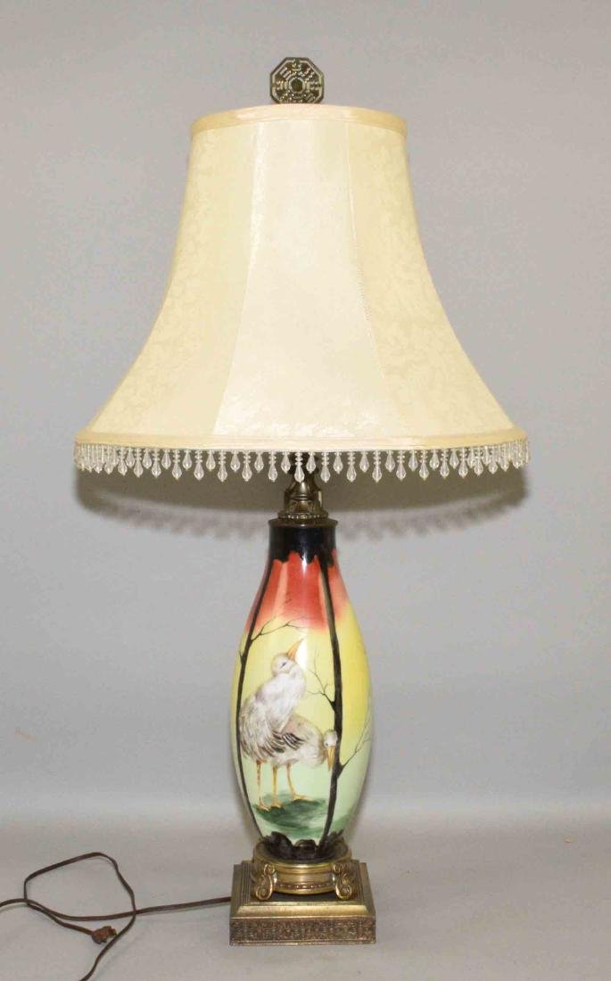 ART POTTERY LAMP WITH CHICKS, 33.5''H.