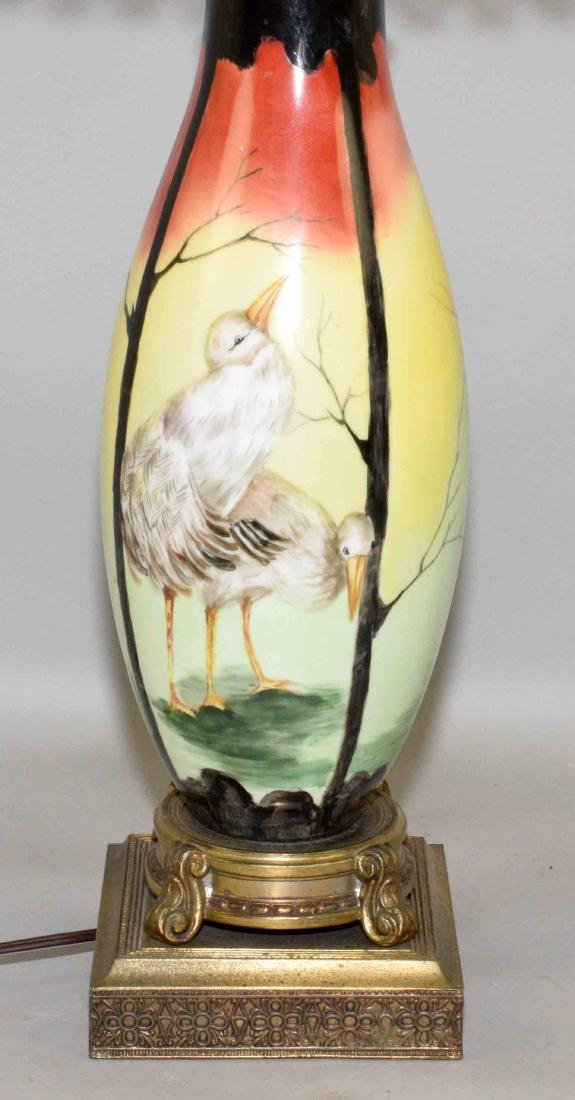 ART POTTERY LAMP WITH CHICKS, 33.5''H. - 2