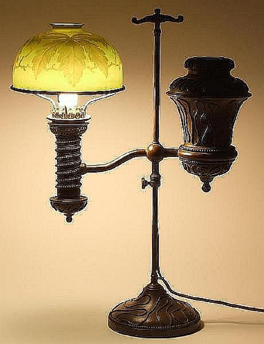 TIFFANY STUDIOS STUDENT LAMP WITH CAMEO FAVRILE GLASS