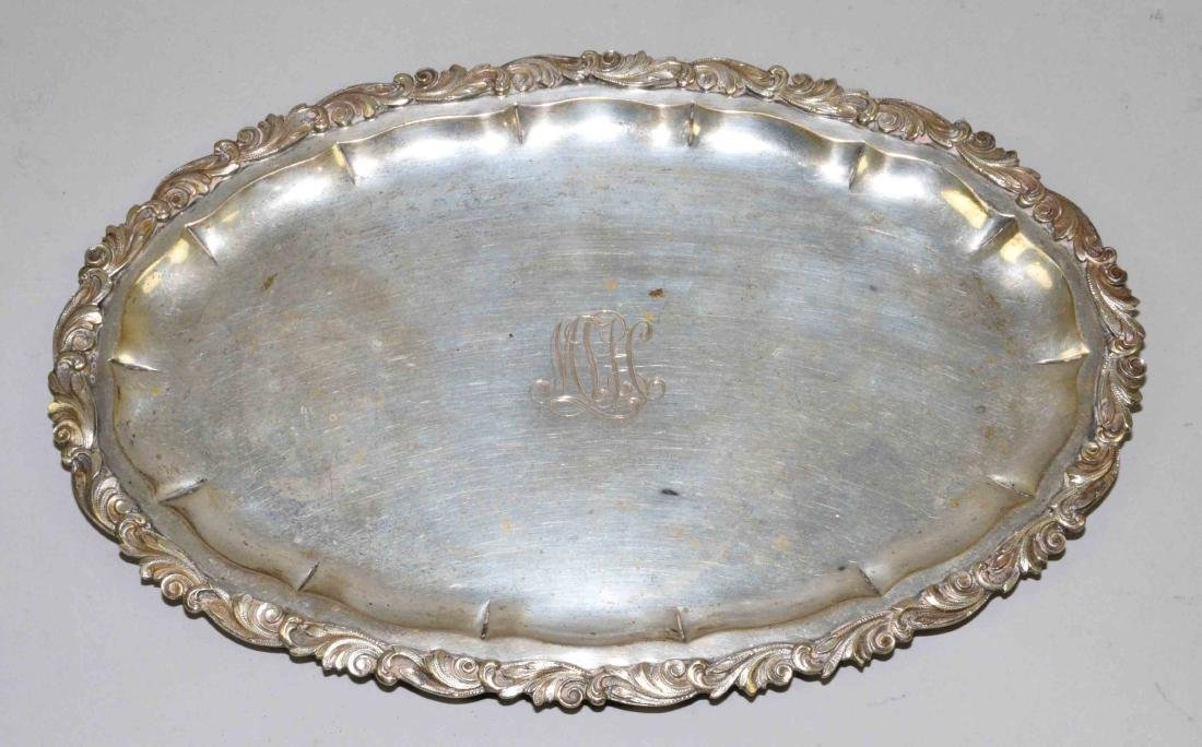 800 SILVER RETICULATED OVAL TRAY. Engraved MLH. 11''L x