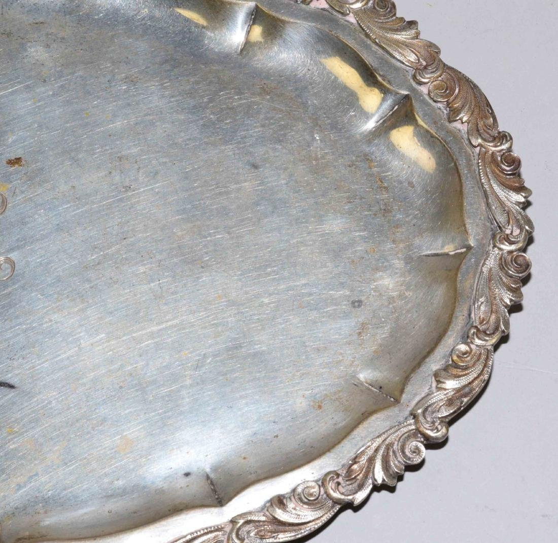 800 SILVER RETICULATED OVAL TRAY. Engraved MLH. 11''L x - 2
